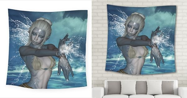 The Wonderful Water Fairy With Water Wings Square Tapestry (large)