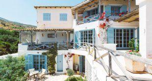 GREEK STYLE VILLAS - Rustic villa with blue shutters.
