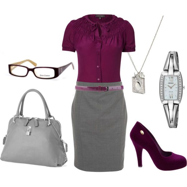 This look is totally me!    Plum blouse, gray pencil skirt, plum belt, gray bag & plum heels... with accessories!  Yes, please & thank you!!!