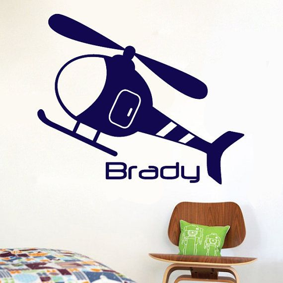 "Helicopter Custom Name Wall Decal Vinyl Art Sticker 22""h X 18""w"