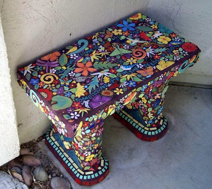 Mosaic HANDMADE TILE STUDIO: Bench covered with handmade tiles