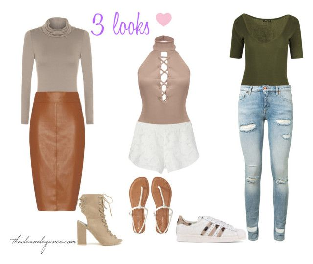 """3 ways to wear a bodysuit"" by thcleanelegance on Polyvore featuring mode, WearAll, Rebecca Minkoff, Bailey 44, Off-White, Nly Shoes, adidas Originals et Aéropostale"