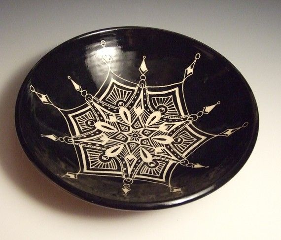 Sgraffito Serving Bowl  My signature line of by KaransPotsAndGlass, $110.00