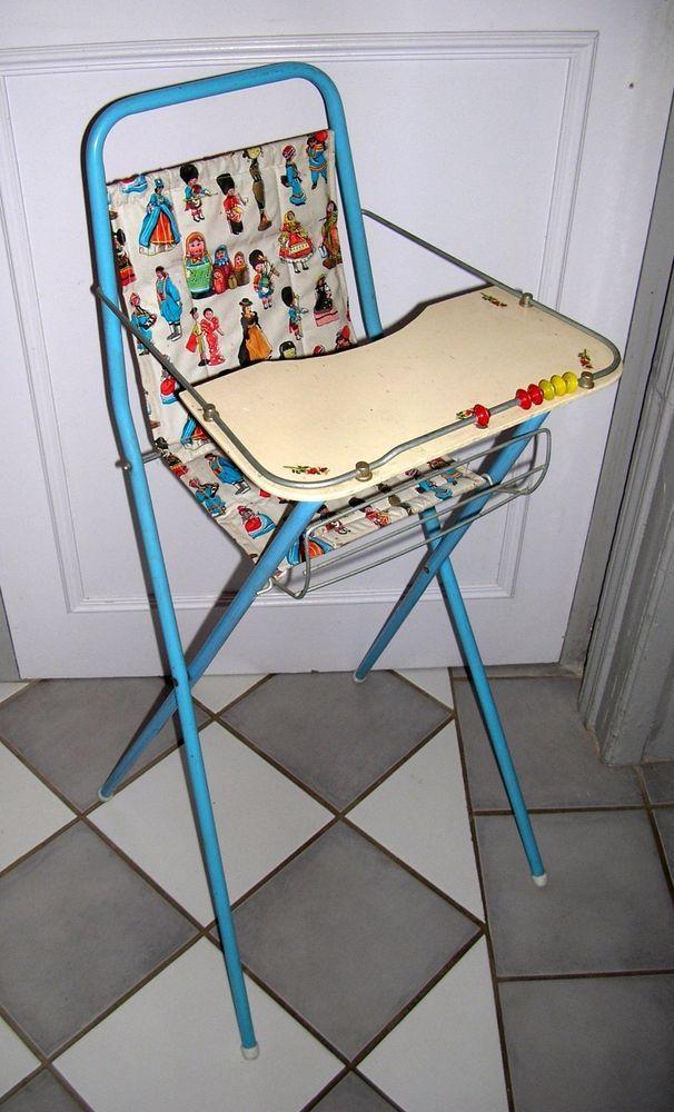 chaise haute poupée vintage 60 pliable pour Gégé, Raynal, Bella...