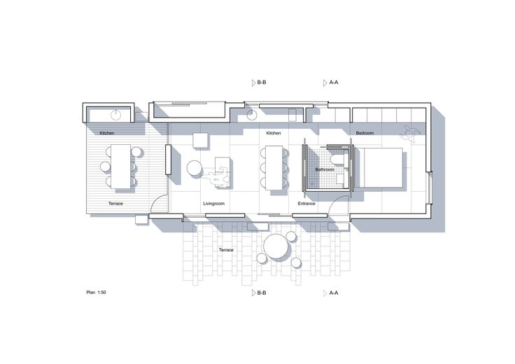 Plan, small house, Aarhus DK Architect Kristian Olesen