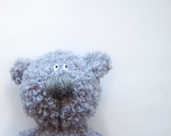 Crochet toy Grey Curly Bear soft stuffed animal for by RomeoShop