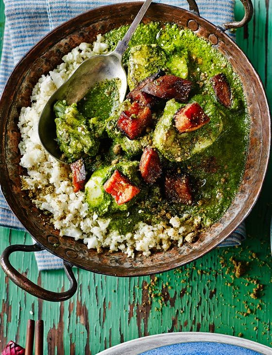 Fish and spinach curry with cauliflower 'rice' and pistachios by Amelia Freer