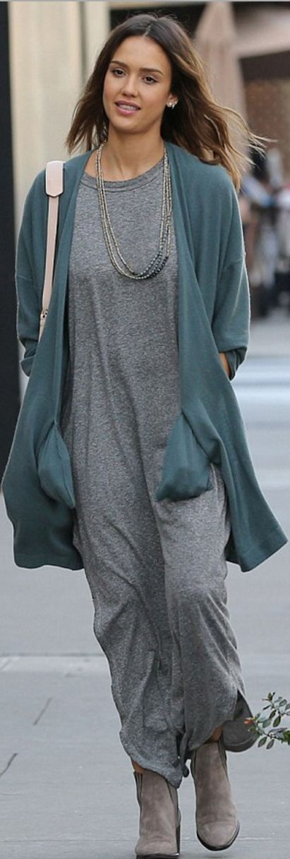 Who made  Jessica Alba's gray maxi dress?
