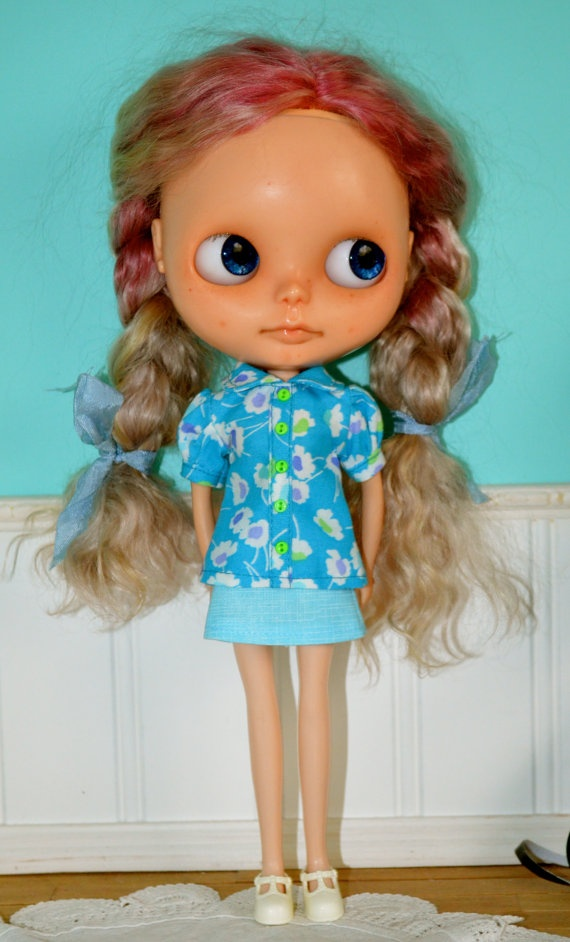 Shirt and Skirt for Blythe  Pale Blue by LaPetitePamplemousse, $23.00