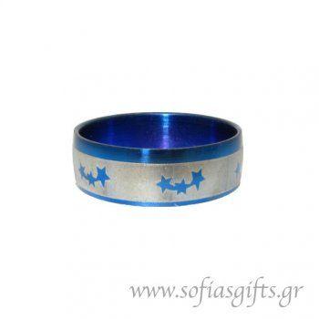 Ανδρικό δαχτυλίδι metal blue αστέρια
