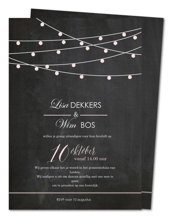 huwelijk uitnodigingen glitter slingers