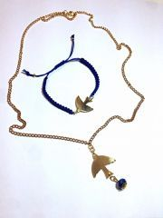 Ayarlanabilir Örgülü Altın Kaplama Kuş Bileklik ve Altın Kaplama Zincirli Kristalli Kuş Kolye Set