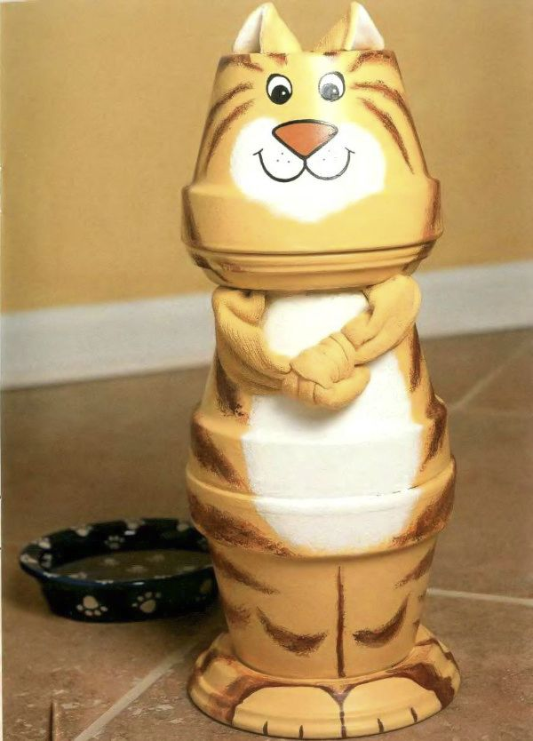 Happy cat doll made of clay flower pots