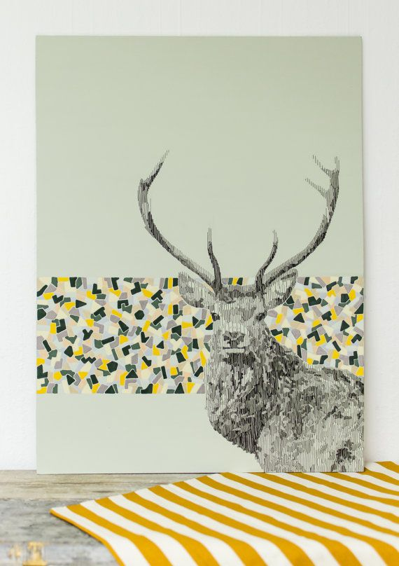 Moray  Stag Drawing with Geometric Pattern by EyeJoyArt on Etsy