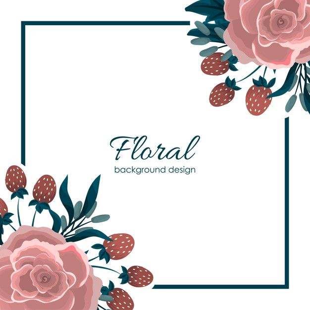 Greeting Card Template With Floral Background Floral Background Greeting Card Template Flower Doodles
