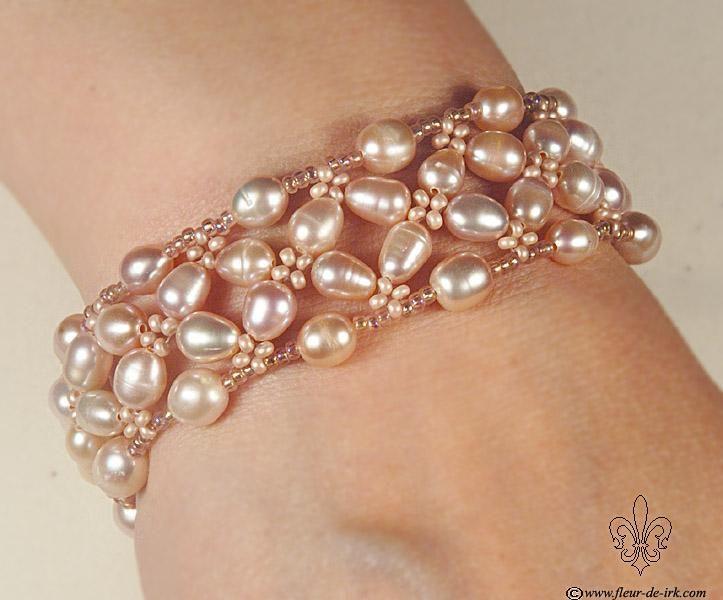 Pink pearl bracelet B271 by Fleur-de-Irk on DeviantArt