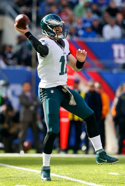Eagles vs. Giants:  28-23, Giants  -  November 6, 2016  -       Carson Wentz of the Philadelphia Eagles throws a pass in the first half against the New York Giants at MetLife Stadium on Sunday, Nov. 6, 2016 in East Rutherford, N.J.