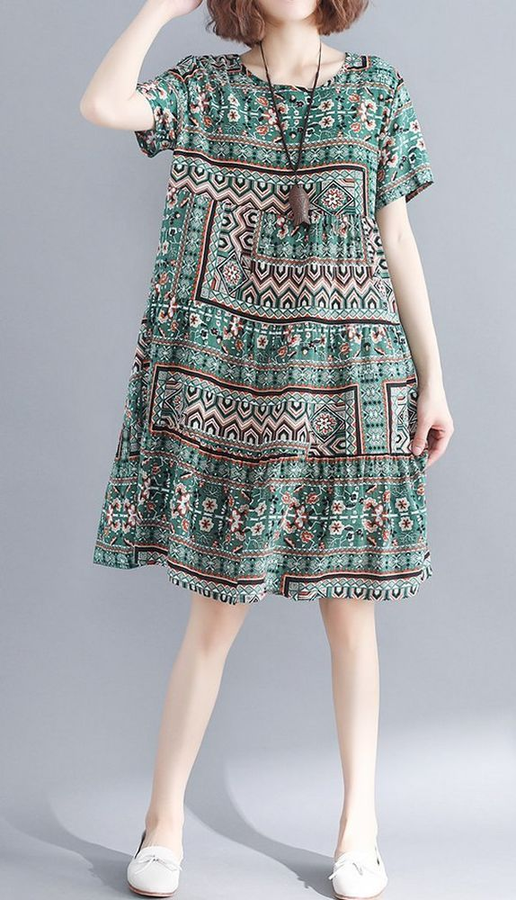 Women loose fit dress ethnic tribal flower skirt short sleeve large size casual …