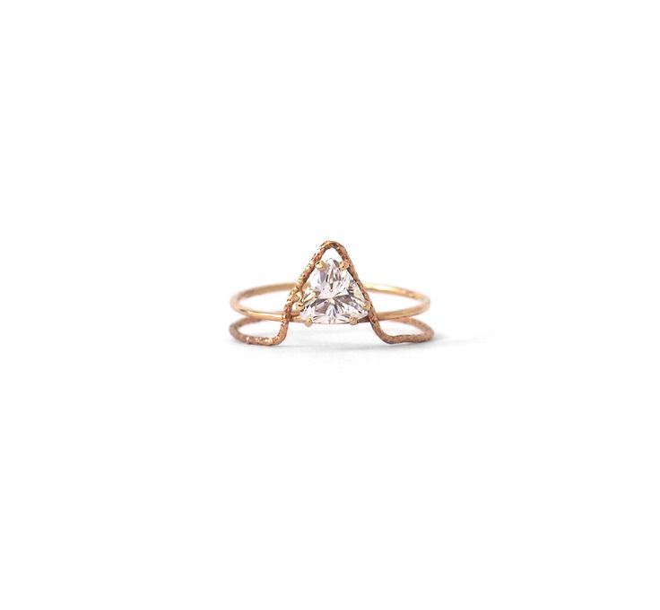 Natalie Marie Jewellery (Sydney) - Offset Triangle Ring with Crown in Rose Gold $510