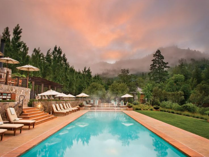 """Calistoga, California Soaking pools overlook the """"stunning canyon setting"""" of the """"top-notch"""" Bathhouse at Calistoga Ranch, a winery-inspired property surrounded by 157 wooded acres. Enjoy views of a babbling creek and mossy oaks from treatment rooms equipped with open-air garden showers and private mineral water tubs. Over 60,000 resident bees provide every drop of the honey used in services like the detoxifying Bee Well Body Massage."""