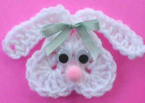 FREE-Pattern-Maggie-Weldon-Crochet-Bunny-Fridgie.  Can use it for applique work.