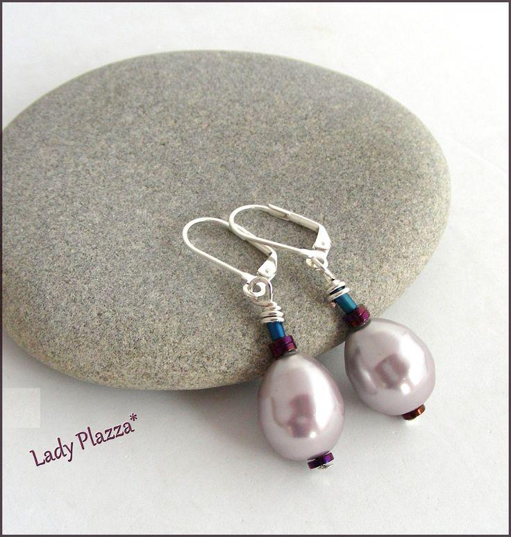 Boucles d'oreilles / Perles de culture Mauve-rose / Argent : Boucles d'oreille par ladyplazza