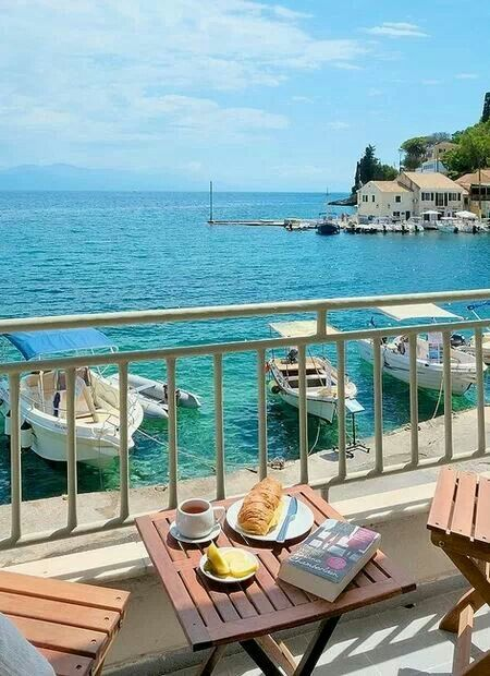 Paxos island....croissant and a coffee with this little heaven!