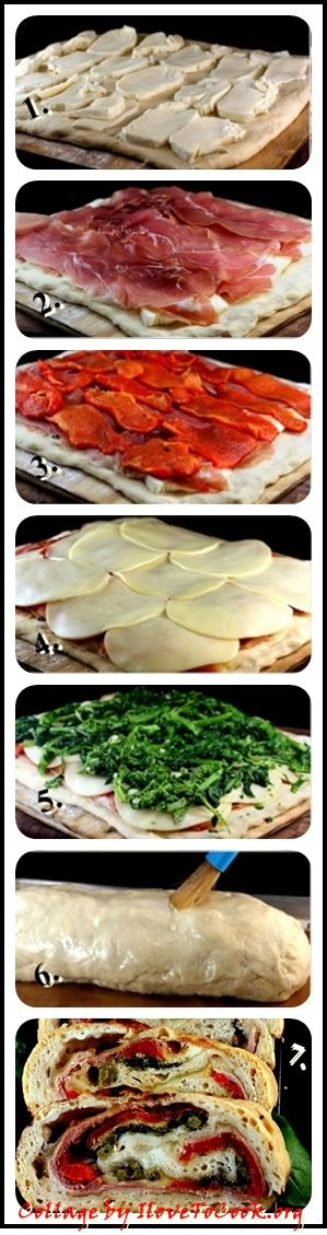 Three Cheese Prosciutto, Roasted Red Pepper, Broccoli Rabe Stromboli