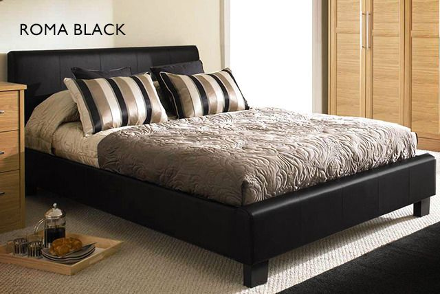 Faux-Leather Bed & Ortho Mattress