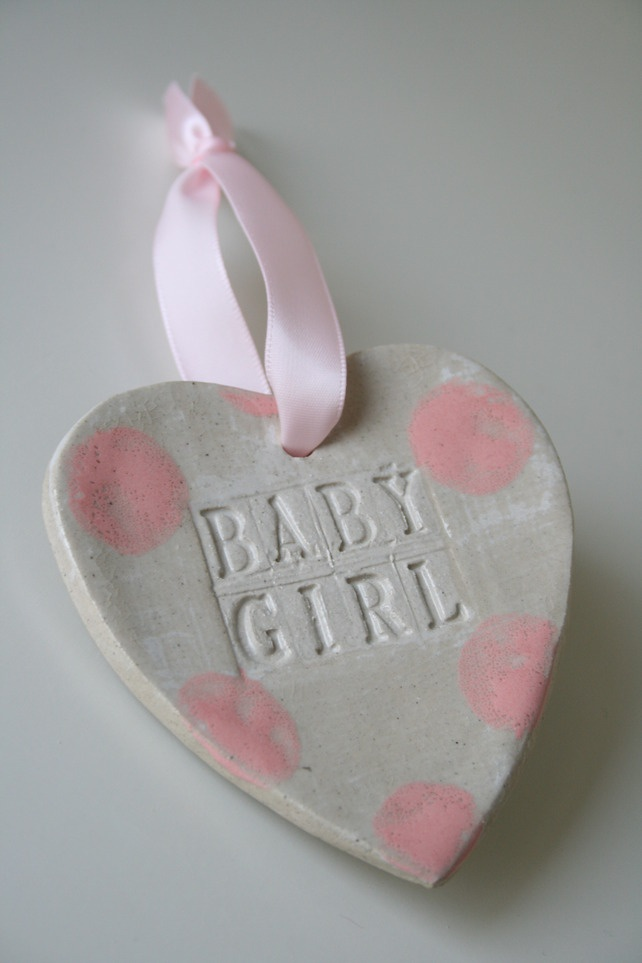 Baby Girl Ceramic Hanging Heart Gift £6.99- Now on Folksy.com!