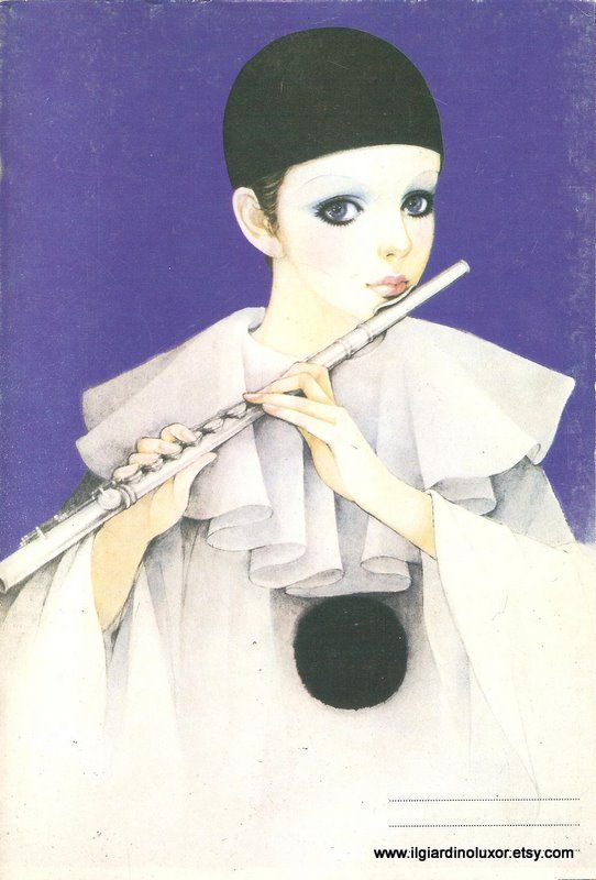 Rare 80s Vintage Greek Michel Ochs Pierrot Clown 80-sheet-notebook fujita