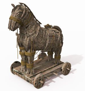 During the Trojan war, Greeks built a huge wooden horse, hid men inside it and left it outside the city of Troy. The Trojans, claiming it as a victory trophy, brought it into their city. That night, the Greek force crept out of the horse, opened the gates for the rest of the Greek army and they destroyed the city of Troy