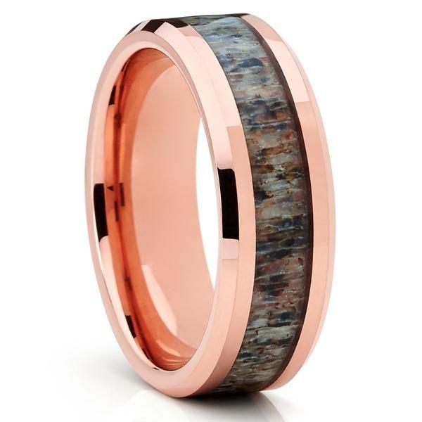 Deer Antler Wedding Band - Rose Gold Tungsten - Antler Wedding Ring - Clean Casting Jewelry