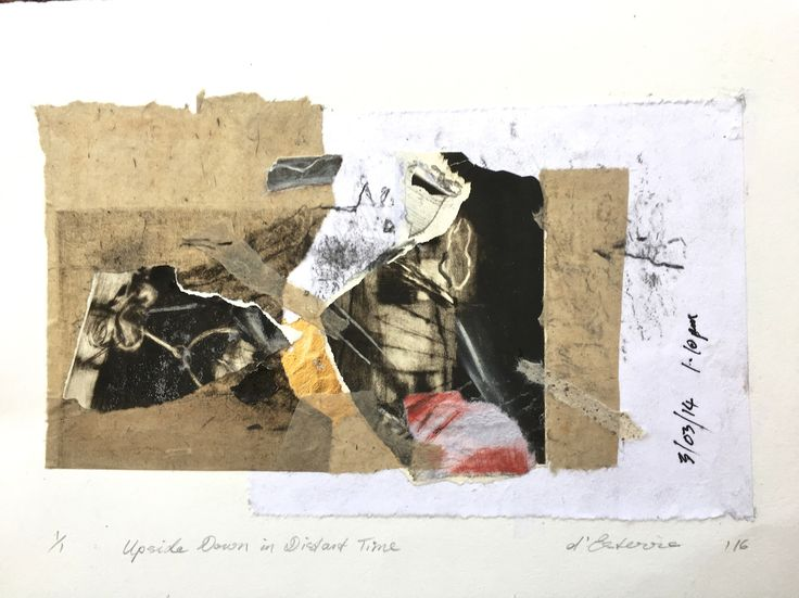 ELAINE d'ESTERRE - Upside down in Distant Time, 2016, etching collage, 30x42 cm. Also at http://www.facebook.com/elainedesterreart and http://instagram.com/desterreart/ and http://elainedesterreart.com
