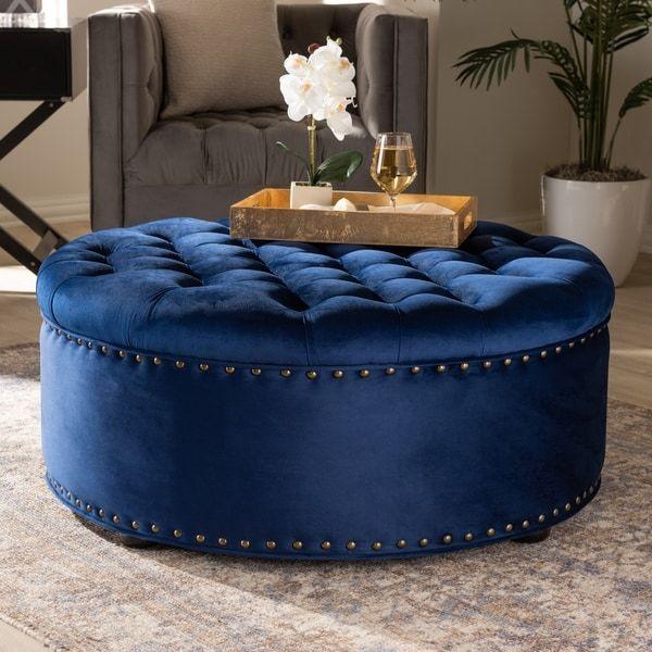 Baxton Studio Velvet Fabric And Wood Contemporary Ottoman Blue Velvet Fabric Tufted Storage Ottoman Ottoman