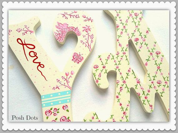 Custom Painted Wooden Letters featuring Toile Flowers by PoshDots