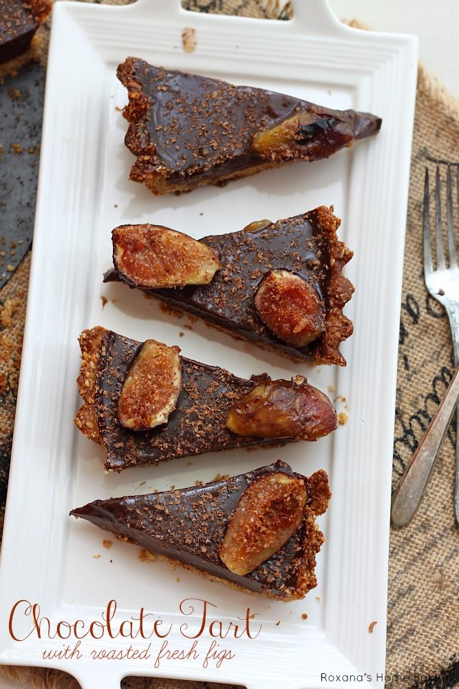Decadent, rich chocolate ganache filling, a nutty crust and juicy sweet fresh figs make this roasted figs chocolate ganache tart a treat for a special occasion Fig Recipes, Tart Recipes, Organic Recipes, Paleo Recipes, Dessert Recipes, Chocolate Ganache Filling, Chocolate Desserts, Roasted Figs, Baking Power