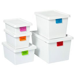 TAGstore™️ Boxes.  The only SMALL plastic storage boxes I've found (so far) that are opaque.