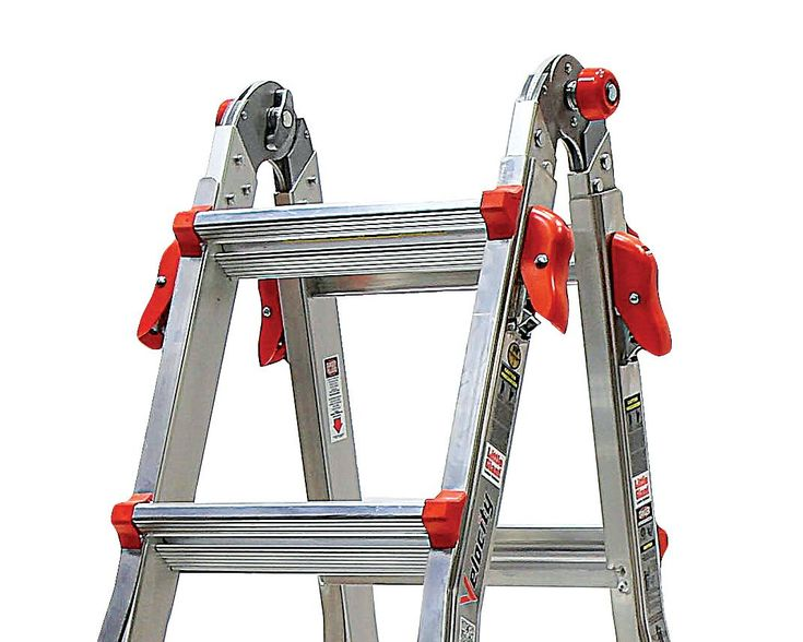 The Little Giant Velocity® is constructed of a special alloy that makes it 20% lighter than any comparable industrial-rated ladder. The Velocity also includes several innovative new features such as the dual-pin hinge and the easy-to-use Rock Locks™ for quick adjustment.