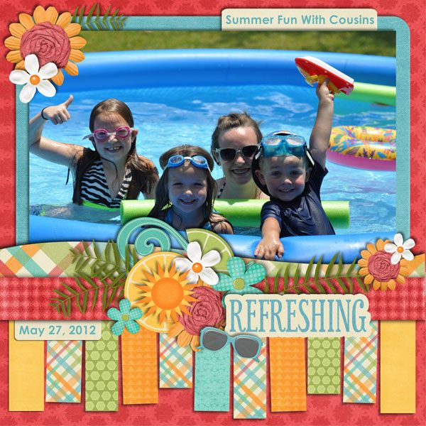 Summer Fun With Cousins - Scrapbook.com. I really like the blocks of paper at the bottom. Great use of scraps