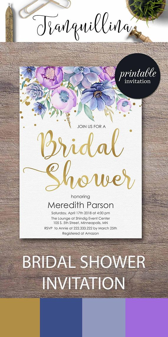 purple themed bridal shower%0A Purple Bridal shower ideas Printable bridal shower invitation Floral Bridal  shower invitation Spring summer bridal shower
