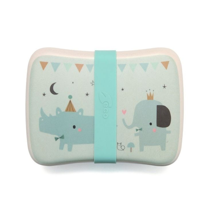 Such a sweet soft toned bamboo lunchbox for children, who doesn't want take this Rhino & Friends to school? This bamboo lunchbox is 100% biodegradable and ecofriendly. A soft pink colored lunchbox + a fresh blue snack box with a transparent lid and fresh blue  silicone strap for