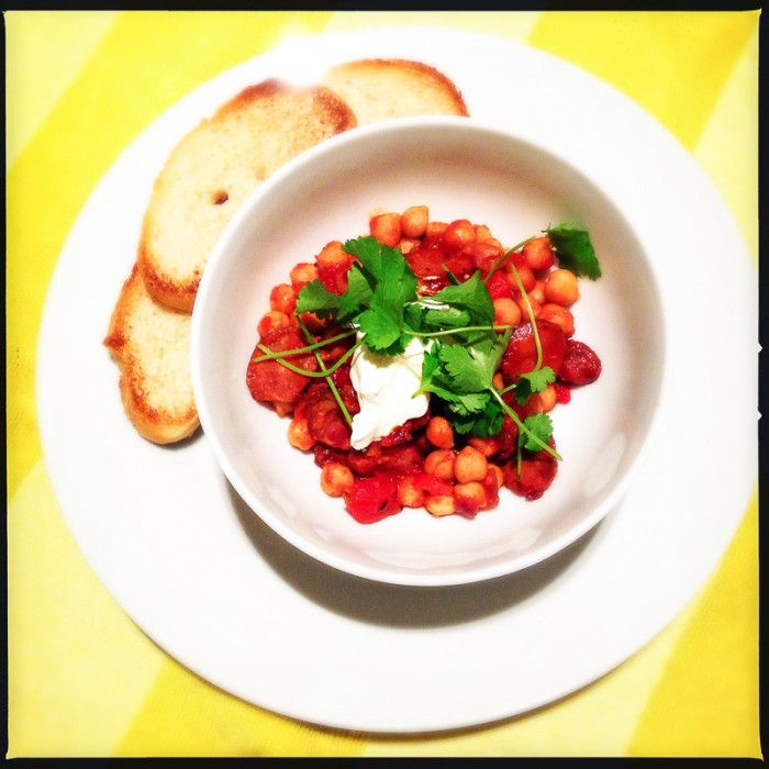 Tapas of chickpeas and Chorizo with sherry. A wonderful meal for a casual dinner!