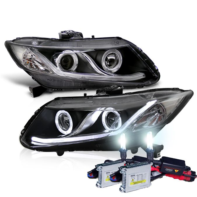 HID Xenon + 2012-2014 Honda Civic Angel Eye Halo & LED DRL Projector Headlights - Black