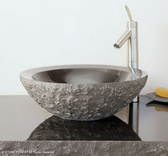 Stone Sinks: Beveled Round Sink, chiseled Stone Forest