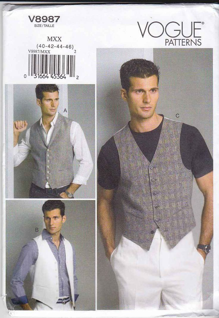 "Vogue Sewing Pattern 8987 Men's Chest Size 40-46"" Button Front Lined Vest Collar Option   Vogue+Sewing+Pattern+8987+Men's+Chest+Size+40-46""+Button+Front+Lined+Vest+Collar+Option"