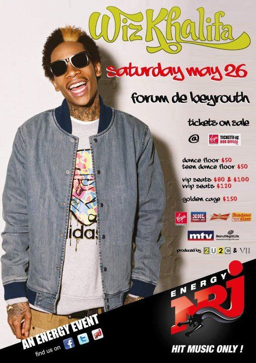Hip-Hop Chart Topper Wiz Khalifa Live in Lebanon Next Saturday!