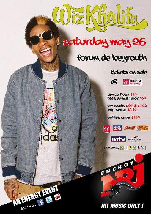 Hip-Hop Chart Topper Wiz Khalifa Live in Lebanon Next Saturday!