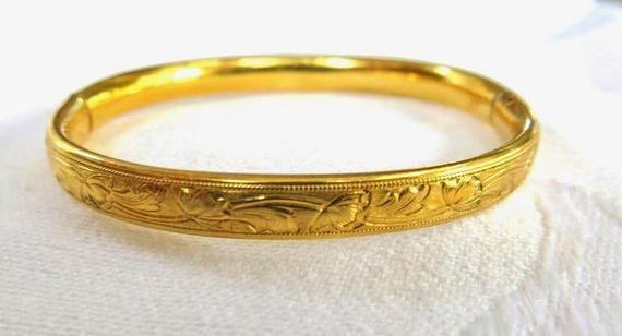 Baby Bracelet Bangle Gold Filled Art Deco Design Vintage