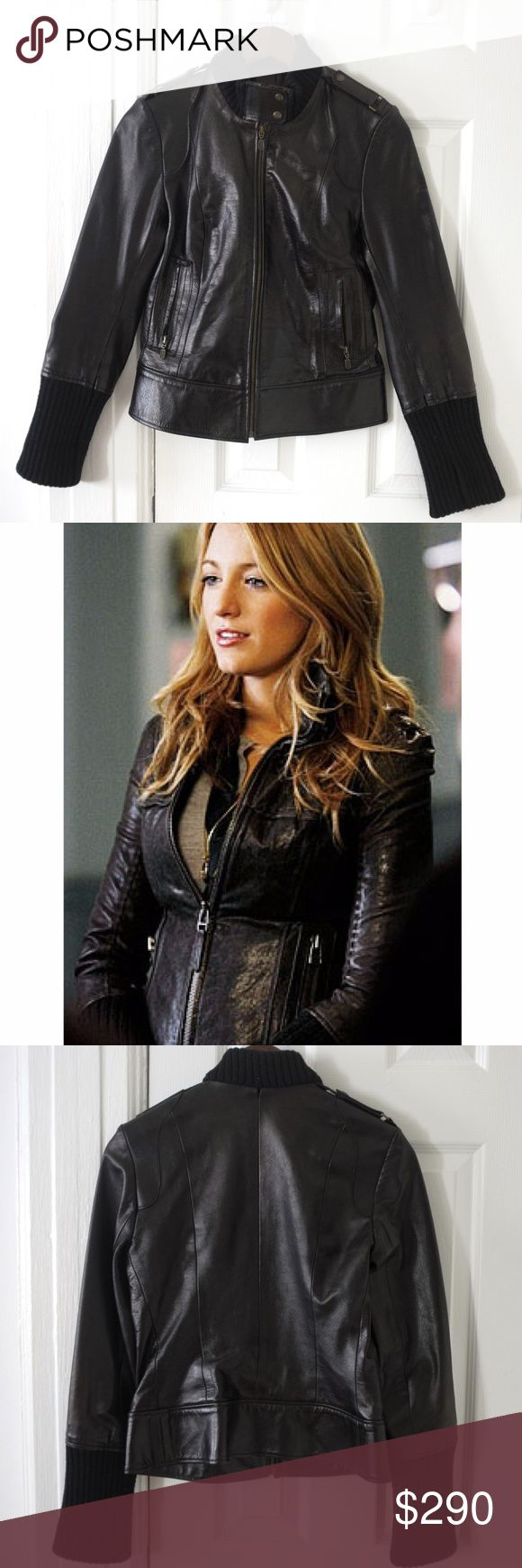 Mackage fitted leather jacket Fitted leather jacket form French brand Mackage as seen on Blake Lively.   Soft lambskin lined with silk, finished with elastic style collar and convertible sleeves.   The quality and workmanship is just beautiful, feels light, but warm and breathable.  It can take you from spring to winter and fall again in style.   Worn a few times, in fantastic condition.   Measurements lying flat: Shoulders 39.5cm / 15.5in Length 53cm / 20.8in Sleeve 62cm / 24.4in Chest 42cm…